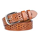Gackoko Women belt - Hollow Flower Cowhide Leather Belt Ladies Vintage Cowgirl Western Design With Alloy Buckle (XS, Brown)