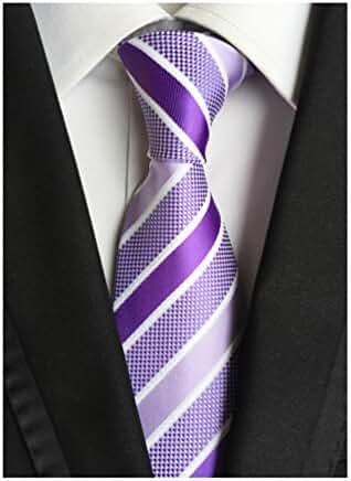 MENDENG Striped Purple Silver Jaquard Woven 100% Silk Men's Ties Wedding Necktie