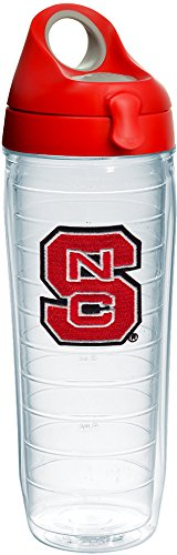 (Tervis 1231010 NC State Wolfpack Logo Insulated Tumbler with Emblem and Red with Gray Lid, 24oz Water Bottle, Clear)