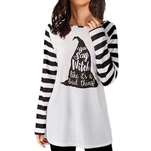 Sunmoot Womens Halloween Casual Long Sleeve Striped Print Bottom Blouse Top Shirt