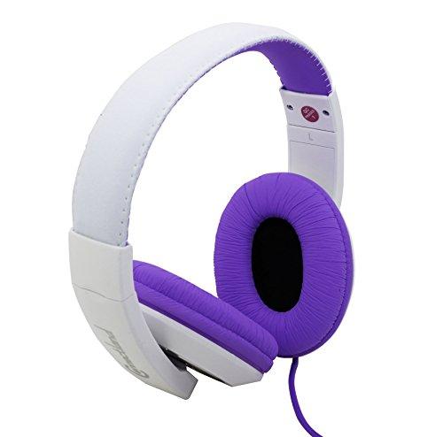 Connectland Circumaural On-Ear stereo Wired Headphone Microphone Adjustable Headband, Purple CL-AUD63032