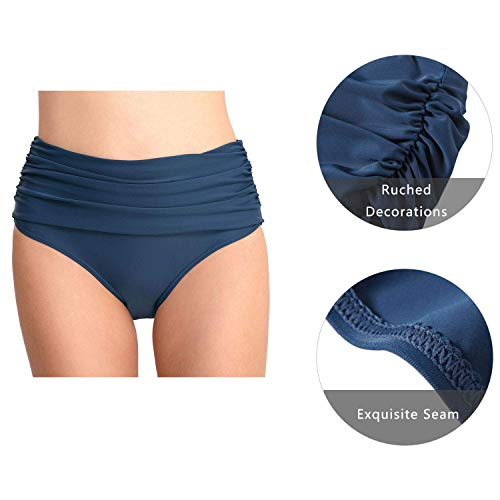 Ecupper Damen Bikini Bottom Slip High Waist Stretch Ruched Badeshorts Badeslip Bikinihose Blau op69AluU billig