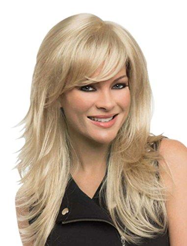 [Tsnomore Long Straight Layered Blond Chic Kanekalon Women Wig] (Chic Wig In Blonde)