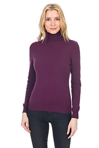 State Fusio Women's Cashmere Wool Long Sleeve Pullover Turtleneck Sweater Premium Quality Violet