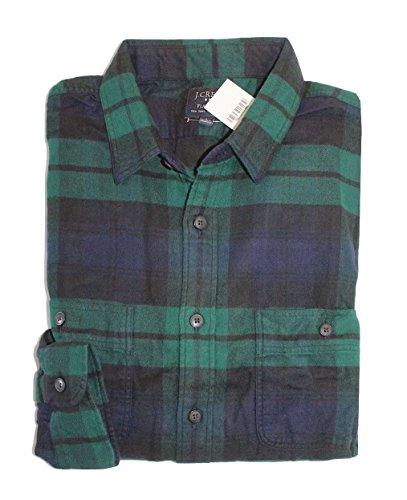 J Crew Factory - Men's - Slim Fit - Plaid Flannel Duel Pocket Shirt (Black Watch, Large) from J.Crew