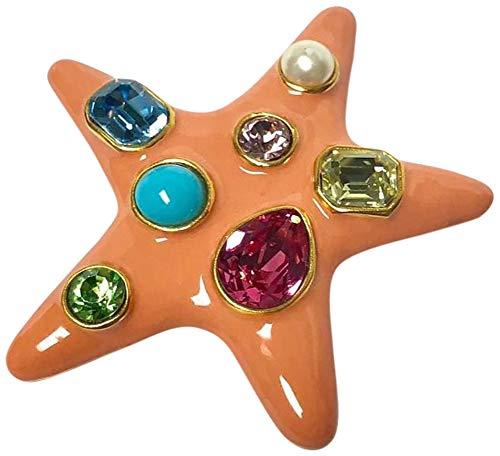 Kenneth Jay Lane, Enamel Brooch Star PIN with Multi Shape Crystals, Worn by Jackie Onassis (Orange/Pastel ()