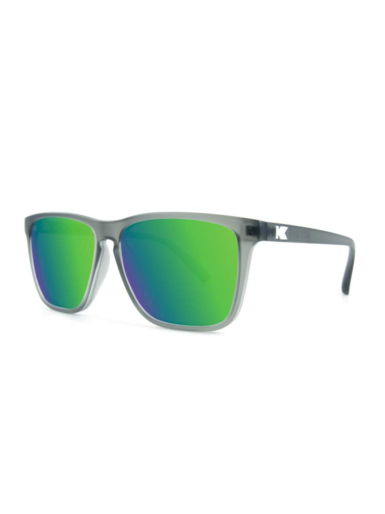 Knockaround Fast Lanes Polarized Sunglasses, Frosted Grey Frames/Green Moonshine Lens