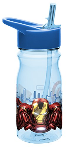 Zak! Designs Tritan Water Bottle with Flip-Up Spout and Straw with Ironman from Avengers 2, Break-resistant and BPA-free Plastic, 16.5 oz. by Zak Designs