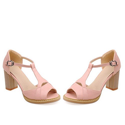 Amoonyfashion Donna Morbido Materiale Peep Toe Gattini Tacchi Fibbia Sandali Solidi Rosa