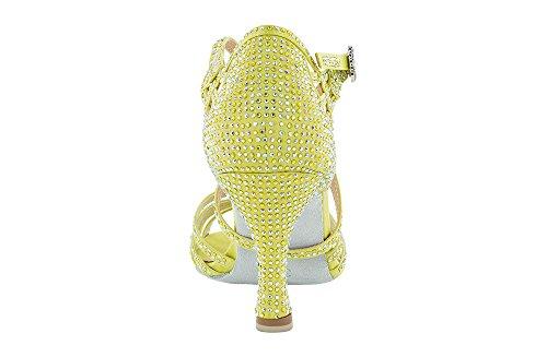 Scarpa da ballo Limited Edition , in raso Giallo Acido , con listini incrociati, 5 fasce, tacco 7,5 cm