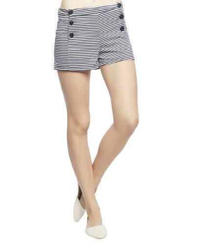 Wet Seal Women's High Waist Stripe Sailor Short L Navy/White