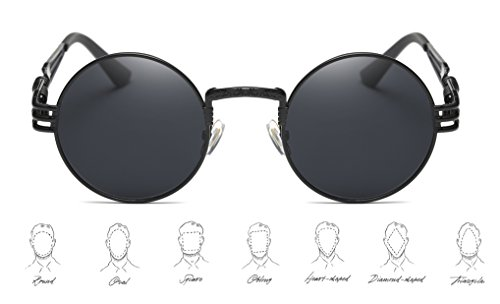 6181916c5a3f2 GAMT John Lennon Glasses Quavo Steampunk Round Sunglasses Circle Metal  Frame Eyewear for Men and Women