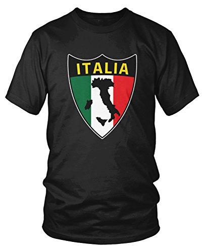 Amdesco Men's Italia Flag Shield, Love Home Italy, Italian T-Shirt, Black ()