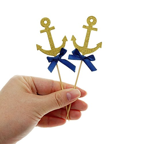 Bilipala Anchor Cake Cupcake Topper Picks For Nautical Theme Decorations Party Supplies, 12 Counts