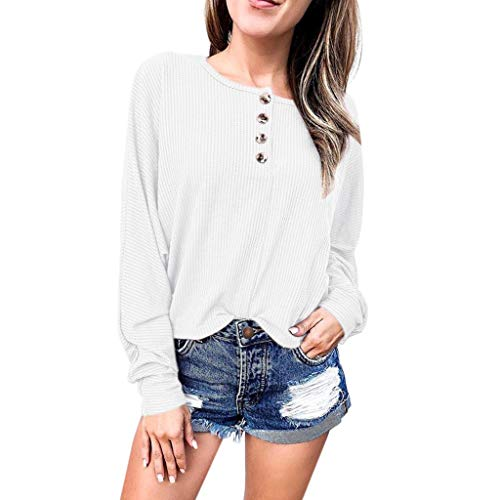 ALLYOUNG Women Tops Long Sleeve Casual Round Neck T Shirts Plus Size Blouse Tops (White, M)