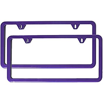 Set of 2 License Plate Frames Holders Purple Finished Powder Coated Slim Style 2 Screw Holes …