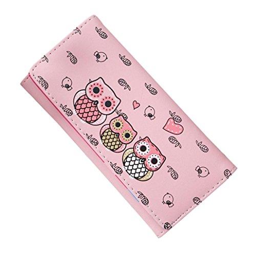 Women's Wallet Cute Cat Wallet Coin Purse Bifold Long Purse with Zipper (Hot Pink) Dollar Nice Coin