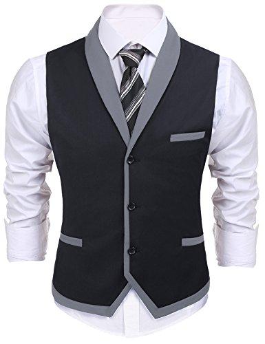 COOFANDY Men's V-Neck Sleeveless Slim Fit Vest,Jacket Business Suit Dress Vest (M, Dark ()