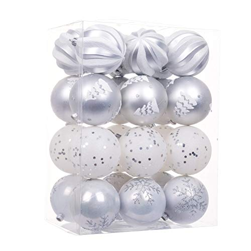 "iPEGTOP Shatterproof Snowy Christmas Ball Ornaments - 24ct 60mm/2.4"" Shiny Matte Glitter Hanging Christmas Balls Ornaments Baubles Set Xmas Tree, Silver White"
