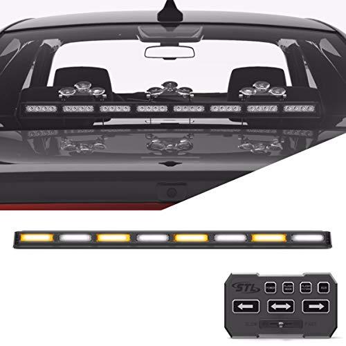 SpeedTech Lights Striker TIR 8 Head LED Traffic Advisor Light Bar for Emergency Vehicles/Strobe Directional Warning Light Windshield Mount - Amber/Clear Alternating ()