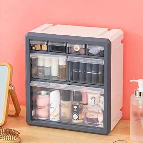 化粧品収納ボックス 引き出し化粧品収納ボックス口紅スキンケアラック多機能リムーバブルプラスチック素材ステレオブルーホワイト SYFO (Color : White)