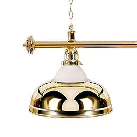 goldfarbene Halterung Billardlampe 4 Schirme gold mit Glas