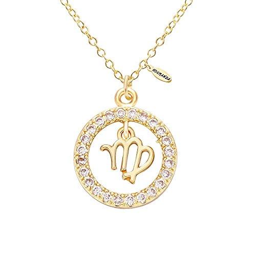 NOUMANDA 12 Constellations Shiny Zircon Pendant Zodiac Sign Horoscope Astrology Disc Charm Necklace (Virgo)