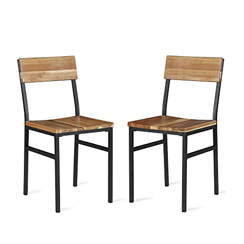 Novogratz Linden Wood and Metal, Natural, Gray (2-Pack) Dining Chairs, (Dining For Metal Sale Chairs)