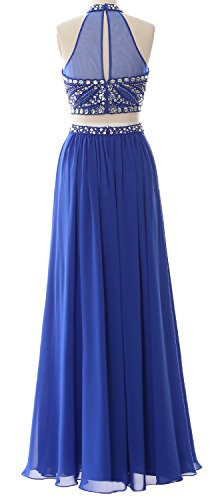 MACloth Women 2 Piece Long Prom Dress Halter Chiffon Beaded Formal Evening Gown Morado