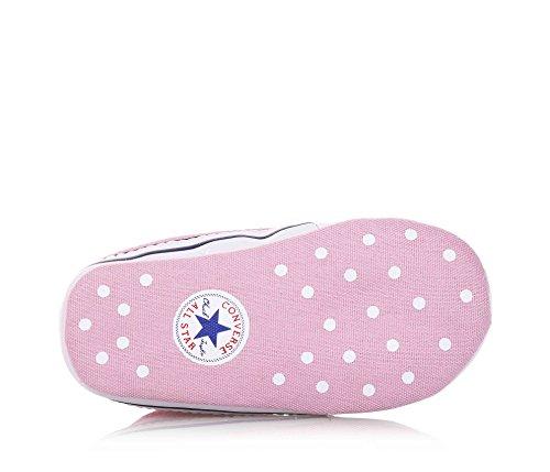 CONVERSE - Zapato de cuna rosa con cordones, en tela, logo lateral y sobre la suela, Niñas, Niña