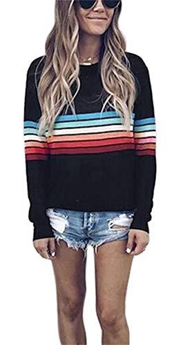 HuiSiFang Womens Colorful Striped Long Sleeve T Shirts Pullover Casual Spring Tops Sweatshirt Plus Size Black (Rainbow T-shirt Sweatshirt)