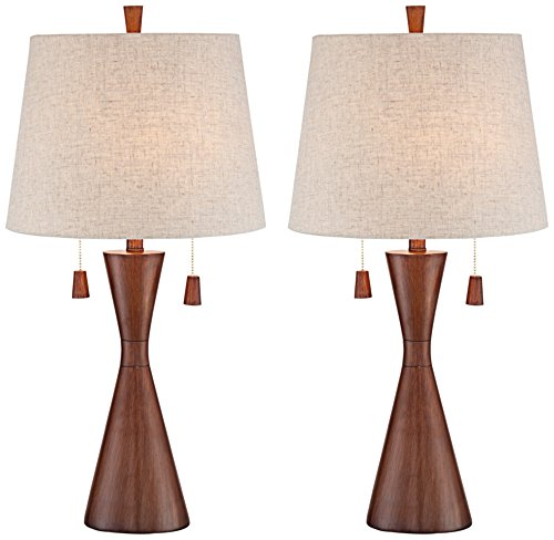 Omar Warm Brown Hourglass Table Lamp Set of (Brown Glass Table Lamp)