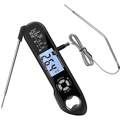 Digital Meat Thermometer Instant Read Out - Backlight Water-Resistant Kitchen Food Thermometer for BBQ Grilling Smoker Baking Turkey...
