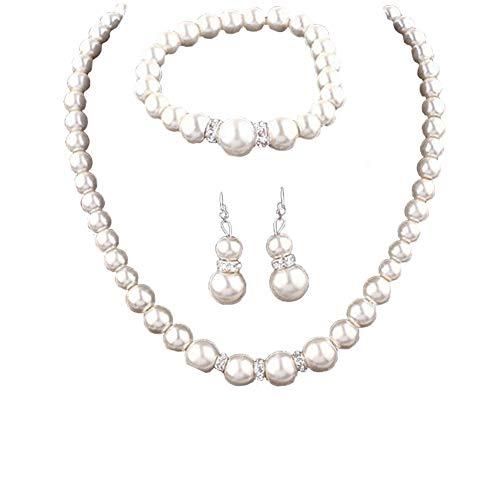 Aineecy Pearl Strand Choker Necklace Set Double Pearls Drop Dangle Earrings Big Imitate Pearl String Bracelet 3Pcs/Set for Women Girls