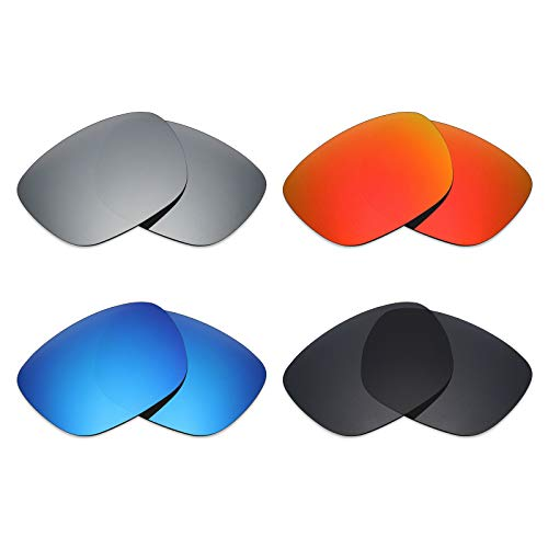 Mryok 4 Pair Polarized Replacement Lenses for Electric Knoxville XL Sunglass - Stealth Black/Fire Red/Ice Blue/Silver Titanium