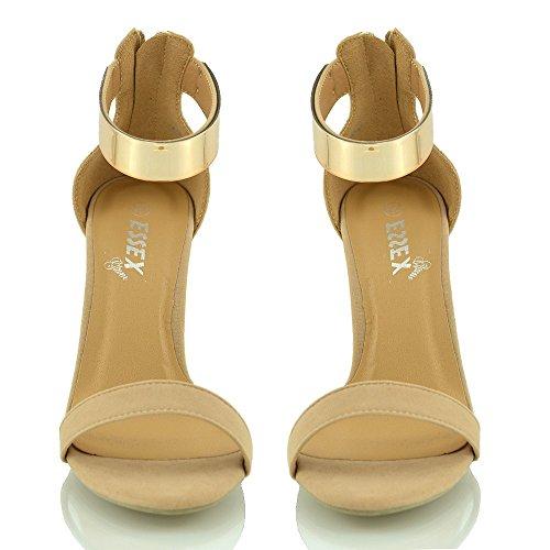 Essex Glam Womens Stilett Hög Klack Fotled Manschetten Strappy Peep Sandaletter Naken Faux Mocka