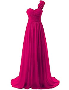 DianSheng Pleated Chiffon Evening Dress One Shoulder Prom Bridesmaid Gown with Flowers CK38