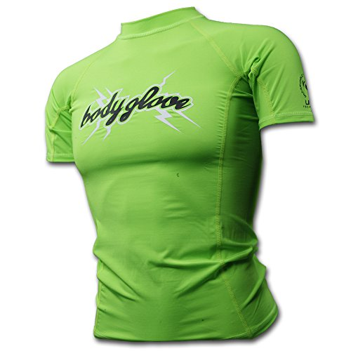 Body Glove Basic Rash Guard for Boys Short Sleeves Swimwear Nylon/Spandex Lime, Sz 8 UVP 50