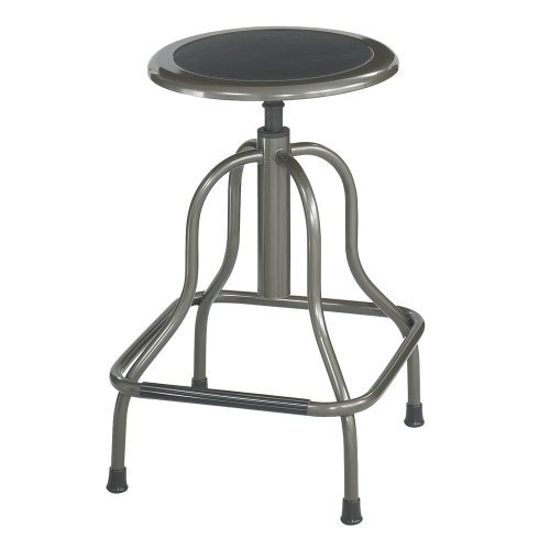- Safco Diesel Series Backless Industrial Stool, High Base, Pewter Leather Seat