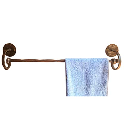 (My Swanky Home Wrought Iron Single Towel Bar | Scroll Twisted Holder Classic Bronze Bathroom)