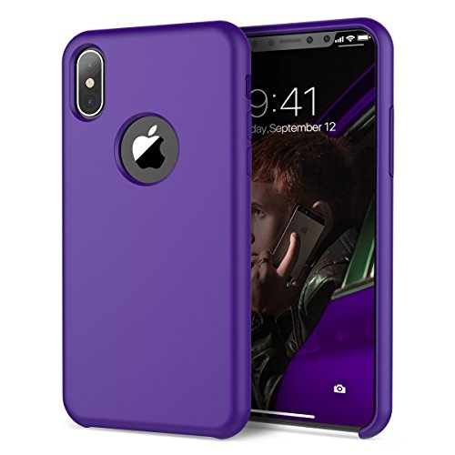 SmartLegend iPhone Xs/iPhone X Case, Ultra Slim Fit Liquid Silicone Gel Rubber Shockproof Soft Microfiber Cloth Cushion [Support Wireless Charging] Full Protection iPhone Xs/iPhone X- Purple