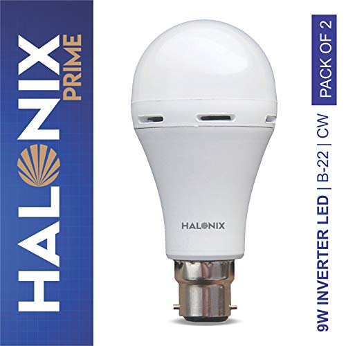 Halonix Inverter LED Bulb B22 9-Watt (Power Backup Upto 4 Hours) Pack of 2, White