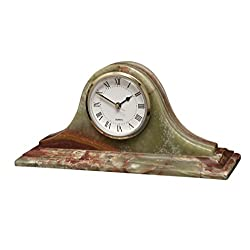 Designs by Marble Crafters Multi Green/Maroon Onyx Mantel Clock