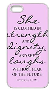 Hard Case Bible Quote Proverbs 31:25 Cover for iPhone 5/5s At&t Sprint Verizon