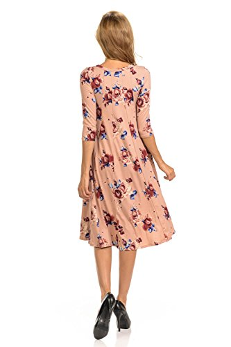 Line Vivienne Pastel in Floral Midi A USA Dusty Dress Made Pink by Trapeze Colors 25 Women's wUqfI5q