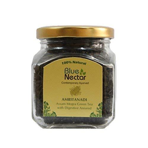 (Blue Nectar Amritanadi Assam Green Tea | Whole Loose Green Tea Leaves from Assam Tea Garden (70 g | 35 Cup) (Digestive Aniseed))