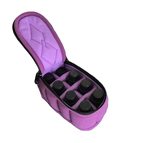 New 8 Bottles Essential Oil Carrying Case Holds 5ml/10ml/15ml for Travel,Home Storage (Deep Purple)