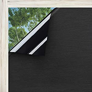 Coavas Window Films Blackout Hairline Privacy Static Cling Glass Sticker, Total Cover for Room, Darkening Window Tint 100% Light Blocking for Day Sleep, No Glue Baby Nap Security (Black, 17.7″x78.7″)