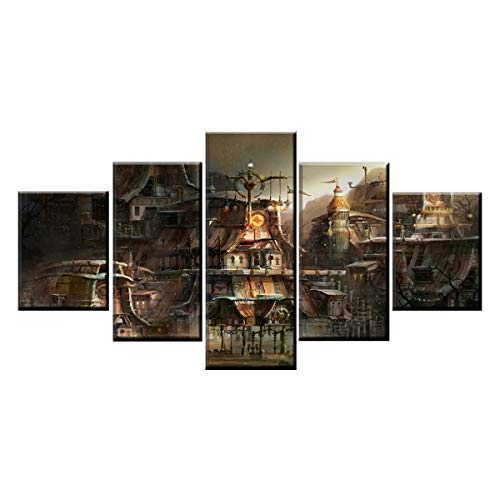 DOLUDO Home Decorative Modular Framework5 Panel Building City Steampunk Poster Modern Wall Art Picture]()