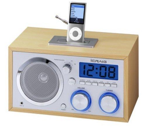 Craig Electronics CMA3036 Retro iPod Alarm Clock Radio Ipod Docking Pocket